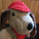 Vintage Interpur Plush Dog with Red Cap and Overalls (Avon?)