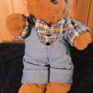 Vintage 1988  Stewart's Glen Teddy Bear Plush in Plaid Shirt and denims