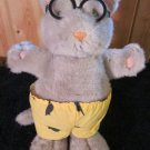 Vintage 1988  Nancy Carlson Grey Plush Cat wearing glasses yellow pants