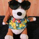 Applause 'Tropical Sad Sam' Plush Bassett Dog  wearing sunglasses