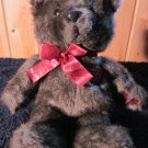 Vintage 1987 Dakin Brown Bear with Burgundy heart with white dots