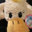 Playful Plush Yellow Duck with black eyes and orange pads on dark yellow feet with tags