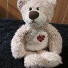 First & Main Cream colored Bear named Tender Teddy with red plaid heart