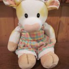 Marys Moo Moos Plush White cow tan spots wearing dress