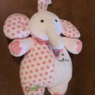 Carters 36110 Pink Elephant Plush Musical Crib Toy sweet heart with polka dots