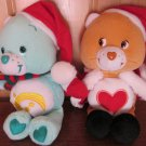 Two Care Bears Tender heart Bear in Santa suit Wish Bear in Santa Hat Scarf