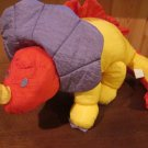 Plush Nylon Triceratops Dinosaur red purple yellow nylon supersoft