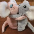Interpur Hugging Plush Mice Pink and Grey Vintage Stuffed with Clippings