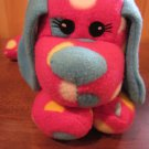 Red Plush Dog with Polka Dots It has Blue ears, tail and nose