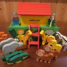 Wooden Noahs Ark with Animals Noah and his Wife 19Pc Set