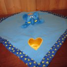 Baby Boom Blue Elephant Lovey Security Blanket with Gold heart