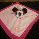 Disney Pink Plush Minnie Mouse Security Blanket Lovey Pink circle button on it