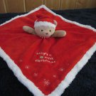 Carters Red Security blanket Tan Bear My first christmas Rattles