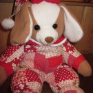 "Commonwealth Plush Tan white 13"" Puppy dog in red pajamas"
