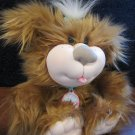 CPK Cabbage Patch Kids Plush Furry Rusty Brown Dog with collar, leash and tag