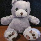Grey Teddy Bear with black eyes and brown nose