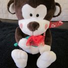 Fiesta Plush Brown Monkey Red Hearts ribbon and holding rose Valentines