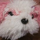"12"" Aurora Fluffy Shaggy Pink and White Plush Dog"