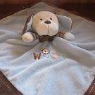 Carters Blue Security Blanket Tan Dog with Brown trim and the word Woof
