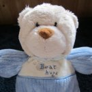 Carters Tan Bear in blue outfit Bear Hugs Plush Rattle #8593