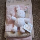 New with tags Carters Cute and Cuddly Blankie Pink Tan security blanket with rabbit