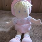 Carters Plush pink doll #7055 Blonde Blued eyed flowers on dress
