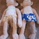 Pottery Barn PBK Plush Monkeys Hawaiian Style Plush One boy One girl