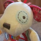 Carters Yellow Dog Teether Rattle Toy Patchwork Plush