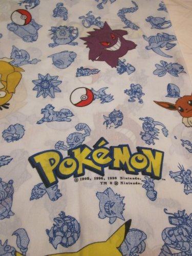Pokemon one Twin Size  Flat Sheet  Nintendo 1998 Pikachu Ash and others