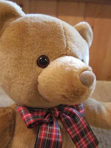 Gund Plush Bear Named Bo with plaid ribbon #40813