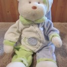 Aurora Plush White Bear in Blue green outfit with snail and flower on front