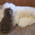Russ Berrie Furry white dog Brown Ears named Dawg