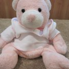 Ty Pluffies Plush Pink Bear named Pudder in white baby shirt