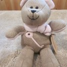 Barista Plush winter Bear wearing a pink scarf and has pink key and heart from StarBucks Coffee #89