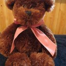 Animal Alley Golden Brown Plush Fluffy Teddy Bear  red gingham bow