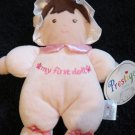 NWT Prestige Pink plush Doll with a flower and  My first Doll This has a rattle inside