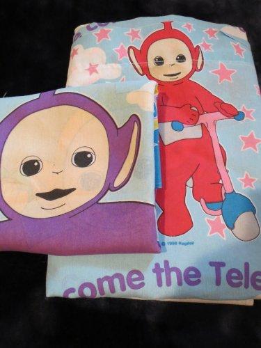 Teletubbies Toddler 1 Twin size Flat Sheet 1 standard size pillow case
