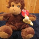 First & Main Plush Brown Monkey named Sweety Petey Holds Banana