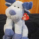 Retired Ty Pluffies Blue Purple Moose named Bloose with heart tag