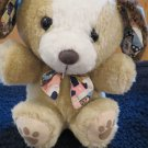 Vintage Tan Puppy Dog with White Face Brown Ears and Print Tie