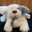 Knickerbocker Plush White and grey Puppy Dog Round Chubby