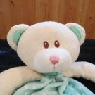 Universal Studios Plush Cream Bear with green security blanket white dots