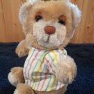 Vintage Dakin 1983 Musical Plush Bear Sleepy striped shirt cap