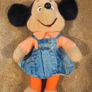 Vintage 1976 Plush Minnie Mouse Doll in Denim Skirt