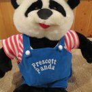 Beta Toys Plush Prescott Panda Bear in overalls and striped shirt