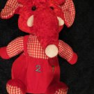 Red Plush Elephant White Tusks 1 2 3 on tummy