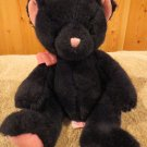 Russ Berrie all Black Plush Bear named Tenderlie with Pink Accents I love you