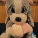 Applause Plush Sad Sam girl friend Honey with slipper grey white dog #23530
