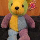 "Kuddle Me Toys 2001 Plush Teddy Bear Green Yellow Purple Blue  16"" Terry"