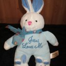 Dandee Blue Bunny Rabbit With Bunny Slippers dots on bow sings Jesus Loves Me Musical Plush Toy